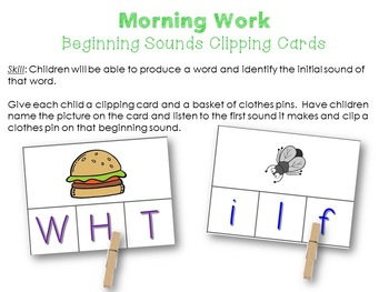 Morning Work Beginning Sounds Clipping Cards
