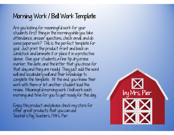 Morning Work / Bell Work Template