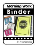 Morning Work Binder Folder Letters Numbers Shapes Colors P
