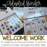 Special Education Morning Work Adapted Binder **Editable**