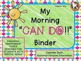 Morning Work Binder for Special Education...Personal Infor