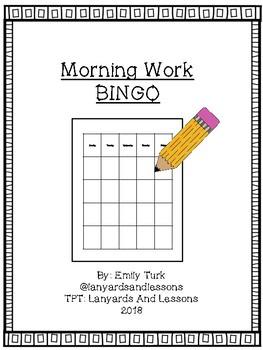 Morning Work Bingo