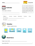 Morning Work Calendar, Weather, News Worksheet
