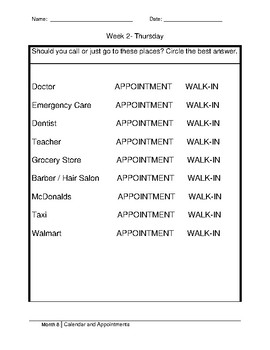 Morning Work- Calendar and Appointments