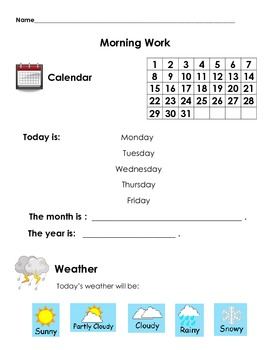 Morning Work Calendar and Weather Worksheet