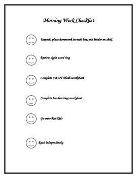 Morning Work Checklist