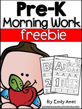 Morning Work FREEBIE:  Pre-K