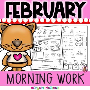 Morning Work! February Valentine's Day Kindergarten Common