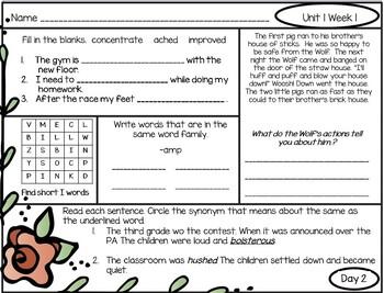 Morning Work First Grade: Reading Wonders Unit 1 Week 3