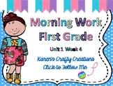 Morning Work First Grade: Reading Wonders Unit 1 Week 4