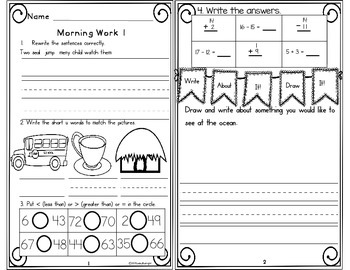 Morning Work First Grade Week 12
