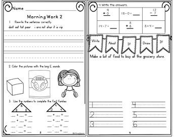 Morning Work First Grade Week 18