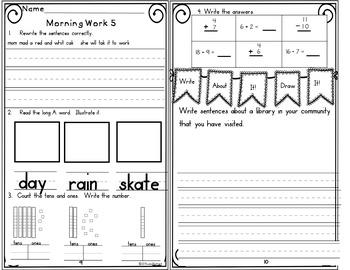 Morning Work First Grade Week 19