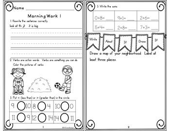 Morning Work First Grade Week 5