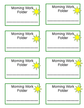 Morning Work Folder Labels