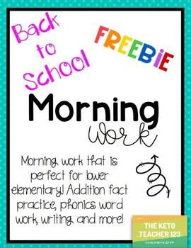 Morning Work Freebie **No Prep** Back to School
