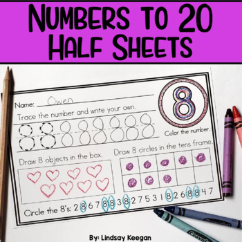 Numbers to 20 - Half Sheets or Numbers Mini-Book