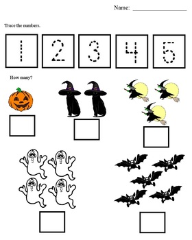 Morning Work Halloween Worksheets: Morning Bell Work, Numbers, Coloring