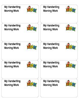 Morning Work Handwriting Folder Label - Editable