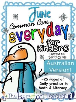 Morning Work for Kindergarten - Math & Language Arts {Australian Version June}