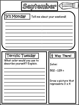 Morning Work Journal for Grades 3-5