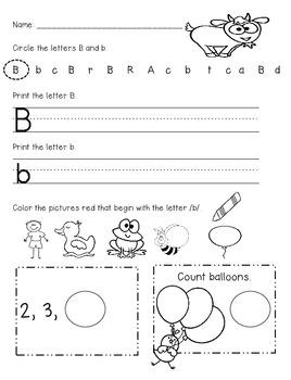 Work Kindergarten FREEBIE!!!! Letters, Phonics, and Math Com core 7 pg