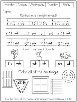 Kindergarten Morning Work (Independent) Set 2