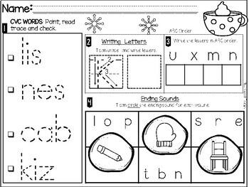 Morning Work-Kindergarten January