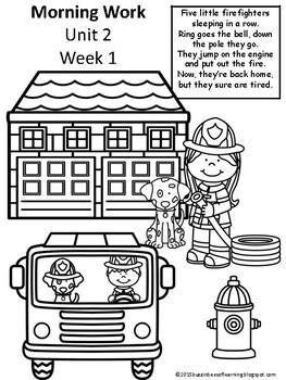 Morning Work - Wonders Unit 2 Week 1-3 Kinder (literacy & math)
