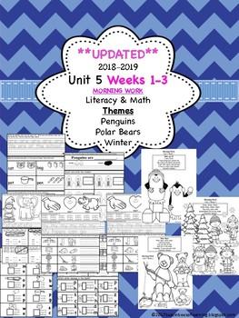 Morning Work - Wonders Unit 5 Week 1-3 kinder (literacy and math)