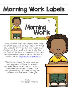 Morning Work Labels