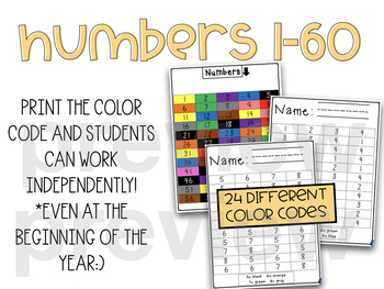 Morning Work- Letters, Sight Words, Color Words, and Numbers: Identify and Color