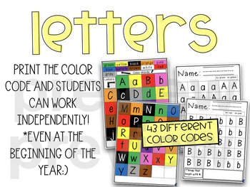 Morning Work Letters Sight Words Color Word and Number Identify and Color