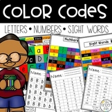 Color Codes Letters Numbers Sight Words