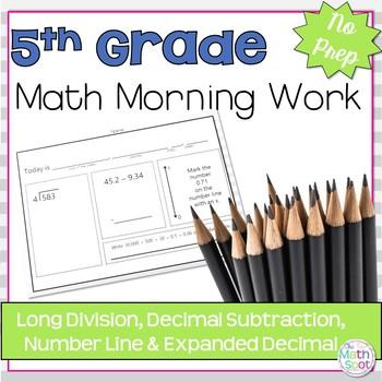 Morning Work: Long Division, Decimal Subtraction, Number L