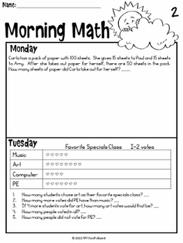3rd Grade Morning Work   3rd Grade Math Morning Work   1st 12 Weeks
