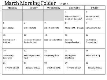 Morning Work - Mar. & Apr. Schedule (editable)
