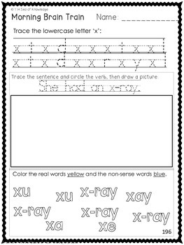 Morning Work - Math & Literacy {Morning Brain Train 9th Month in Kindergarten}