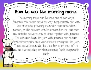 Morning Work: Morning Menu for Apr. and May. 2nd Grade