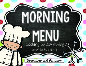 Morning Work: Morning Menu for Dec. and Jan. 2nd Grade