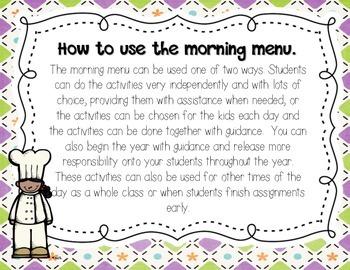 Morning Work: Morning Menu for Feb. and Mar. 2nd Grade