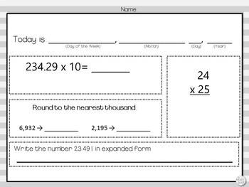 Morning Work: Multiplying Decimals, Rounding, Multiplication & Expanded Decimals