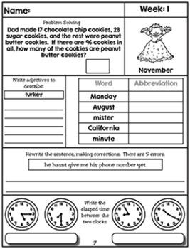 Morning Work NO PREP - November (Third)
