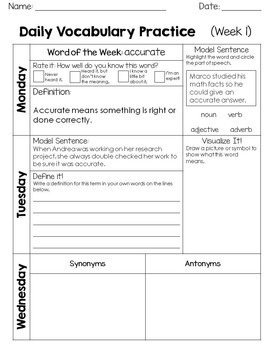 Academic Vocabulary for 3rd Grade Morning Work or Word Work