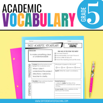 Academic Vocabulary for 5th Grade Morning Work or Word Work