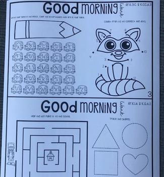 Morning Work Notebook for August Kindergarten
