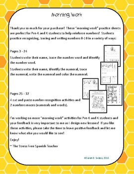 Morning Work, Numbers 0-10, 27 activities! Bees / Spring English Version