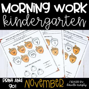 Morning Work November--Kindergarten--No Prep!
