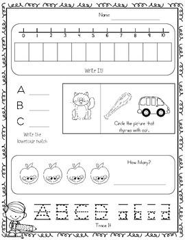 Morning Work! (Or Homework) September Kindergarten Common Core Daily Review
