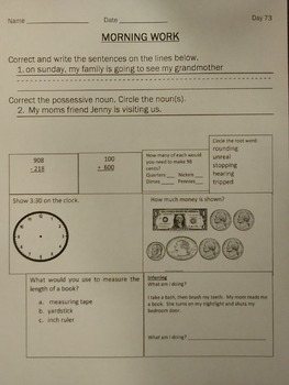 100 Days of Morning Work for Second Grade
